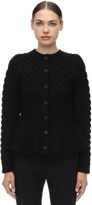 Alexander McQueen Waved Flared Wool Blend Knit Cardigan