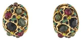 Jose & Maria Barrera Tourmaline & Crystal Clip-On Earrings