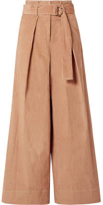 Ulla Johnson Rhodes Belted Cotton-corduroy Wide-leg Pants - Camel