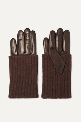 Portolano Leather And Ribbed Cashmere Gloves - Brown