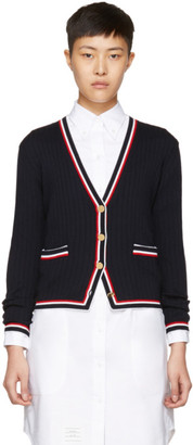 Thom Browne Navy Rib Stitch V-Neck Cardigan $1,190 thestylecure.com