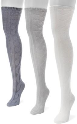 Muk Luks Women's 3-pk. Cable-Knit Over-the-Knee Socks