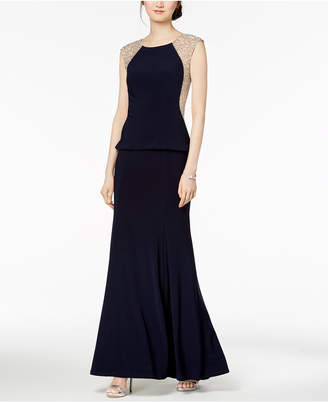 Xscape Evenings Beaded Illusion Peplum-Detail Gown