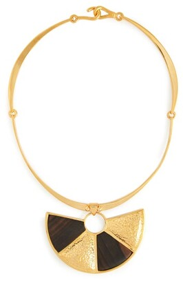 Joelle Kharrat - Peacock Wood And Gold Plated Brass Necklace - Womens - Brown
