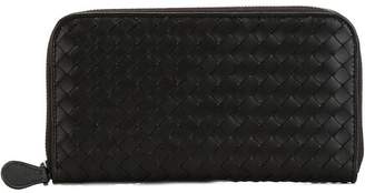 Bottega Veneta nero Intrecciato nappa zip around wallet