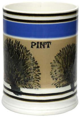 One Kings Lane Vintage Antique English Mochaware Pint Beer Mug - Rose Victoria