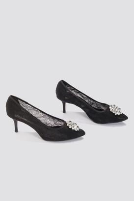 Na Kd Shoes Lace Rhinestone Pumps Black