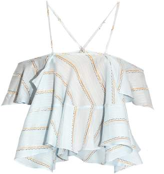 RACHEL COMEY Clearly plunging fluted-trim jacquard top $288 thestylecure.com