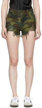 R 13 Green Camo Distressed Camp Shorts