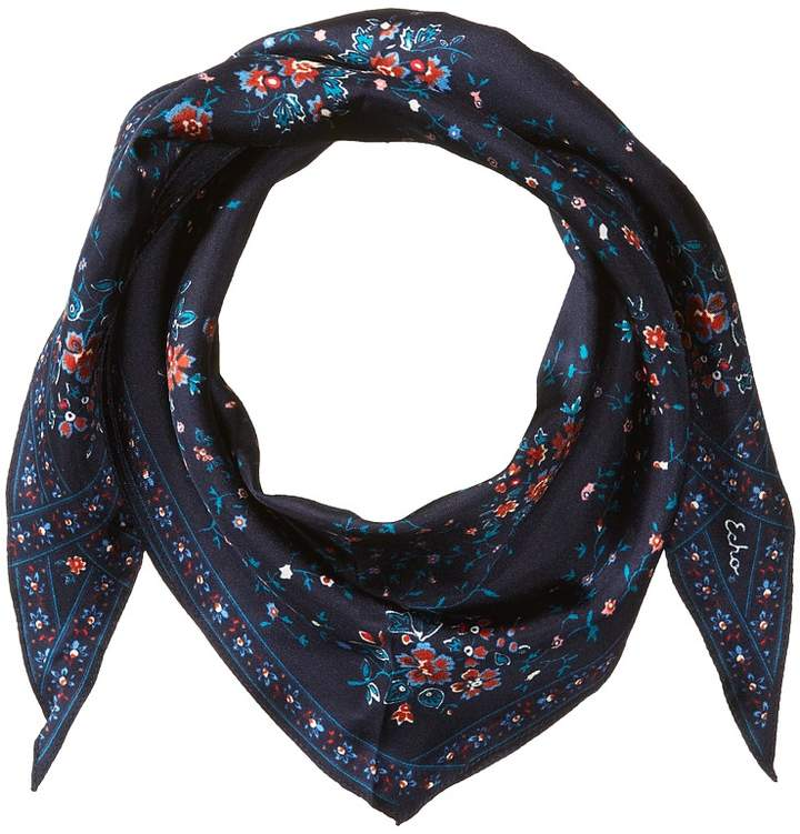 Echo Design - Floral Lace Silk Diamond Shape Scarf Scarves