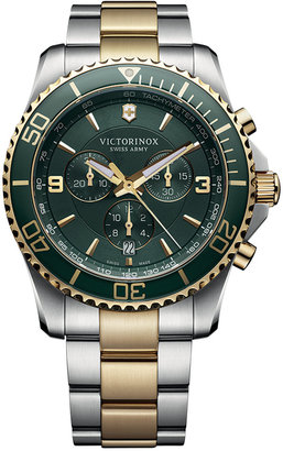 Victorinox Swiss Army Men's Chronograph Maverick Two-Tone Stainless Steel Bracelet Watch 43mm 241693 $750 thestylecure.com