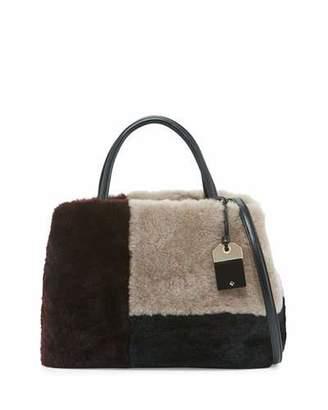 Kate Spade New York Masey Court Sherilyn Shearling Fur Satchel Bag, Multicolor $698 thestylecure.com