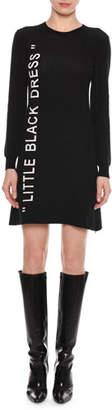 "Off-White Little Black Dress"" Crewneck Long-Sleeve A-Line Dress"