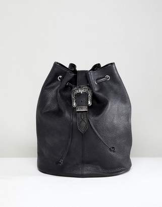 Park Lane Real Leather Western Buckle Backpack