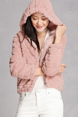 FOREVER 21+ Hooded Faux Fur Jacket $48 thestylecure.com