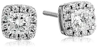 14k Gold Cushion Cut Diamond Stud Earrings with Halo (3/4 cttw