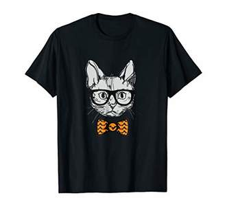 Bow tie Eye Glasses and Cat The Best Combo Orange T-shirt