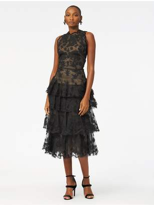 Oscar de la Renta Floral-Embroidered Tulle Tiered Cocktail Dress