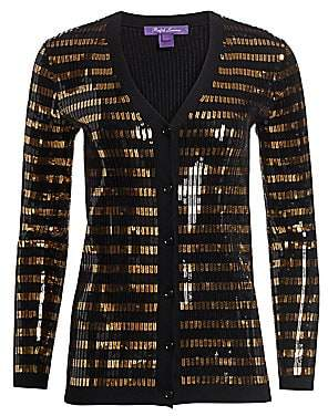 Ralph Lauren Women's Sequin Stripe Wool Cardigan