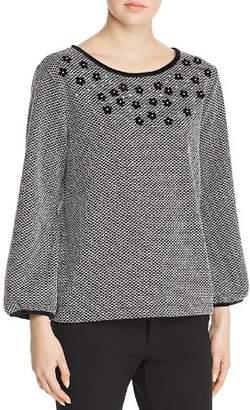 Karl Lagerfeld Paris Embellished Bishop Sleeve Sweater
