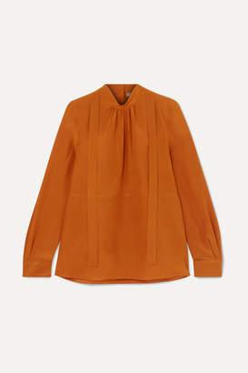 Bottega Veneta Pussy-bow Silk Crepe De Chine Blouse - Orange