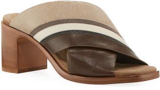 Brunello Cucinelli Colorblock Crisscross Sandals
