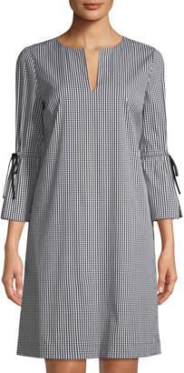 Lafayette 148 New York Deandra Gingham V-Neck Sleek Tech Cloth Dress, Black