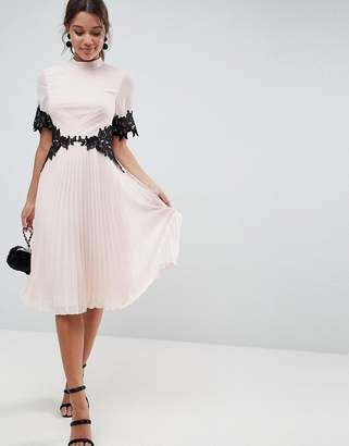 Asos Design Lace Waist and Cuff Pleated Midi Dress