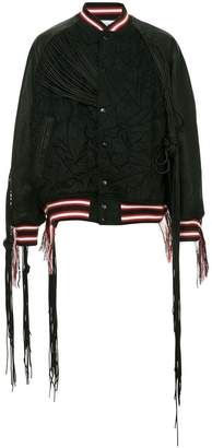 Facetasm x Woolmark fringed bomber jacket