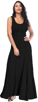 Aecibzo Women's Round Neck Slim Sleeveless Pleated Long Maxi Dress (M, )