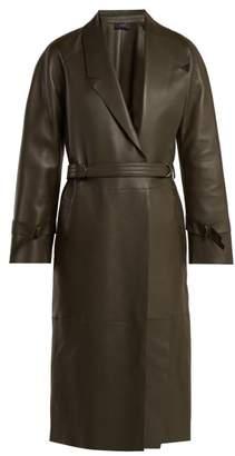 Joseph Solferino Belted Leather Coat - Womens - Dark Green