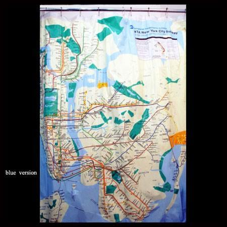 official New York City subway map shower curtain