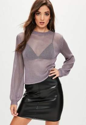 Missguided Purple Balloon Sleeve Sweater