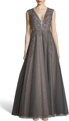 Xscape Evenings Applique Mesh Evening Dress