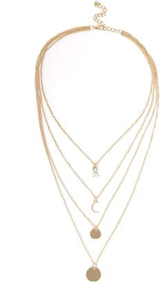 Quiz Gold Multi Charm Layer Necklace