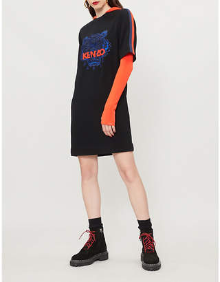 Kenzo Logo-embroidered crepe dress