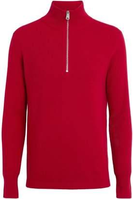 Burberry Rib Knit Cashmere Half-zip Sweater