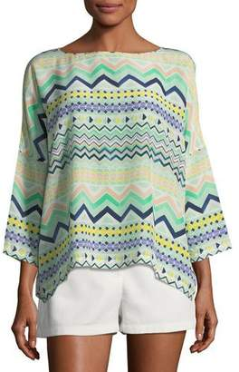 M Missoni 3/4-Sleeve Zigzag-Print Silk Top