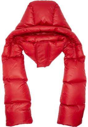 Juun.J Red Hooded Down Scarf