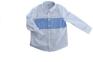 Acne Studios Mini Isherwood Blue Stripe Colorblock Button Up
