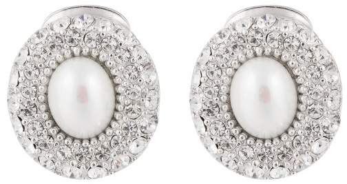 Christian Dior  Christian Dior Silver Tone Metal Faux Pearl and Rhinestone Clip On Earrings