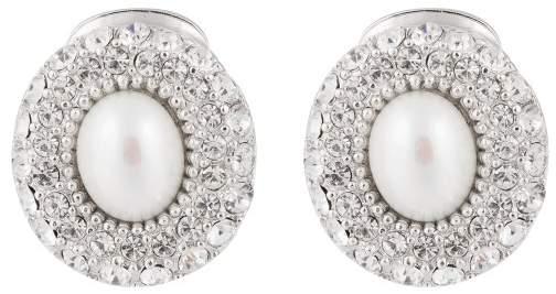 Christian Dior Christian Dior Silver Tone Metal Faux Pearl and Rhinestone Clip On Earrings