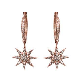 Wild Hearts - Lamat Star Huggie Hoop Earrings Rose Gold