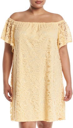 Neiman Marcus Off-The-Shoulder Scalloped Lace Dress, Plus Size