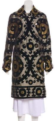 Gucci Velvet-Accented Long Coat