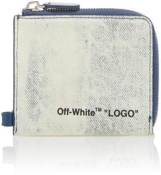 Off-White Logo Zip Denim Chain Wallet