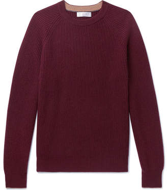 Brunello Cucinelli Ribbed Cashmere Sweater - Burgundy