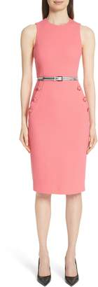 Michael Kors Button Detail Stretch Wool Dress