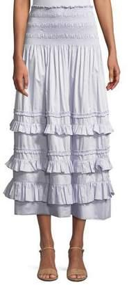 Rebecca Taylor Smocked Ruffle Midi Skirt