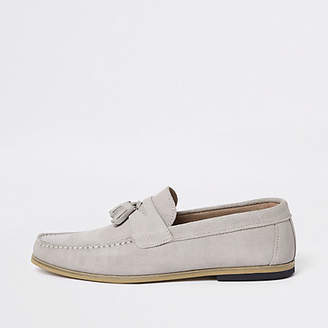 River Island Ice grey suede tassel loafers